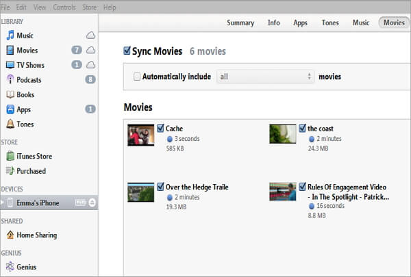 sync movies via itunes