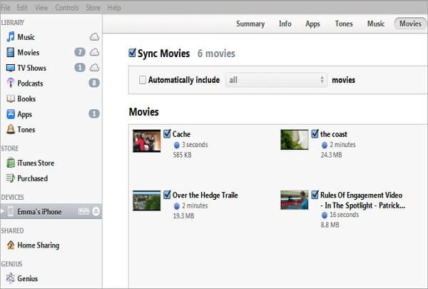 sync movies via itunes