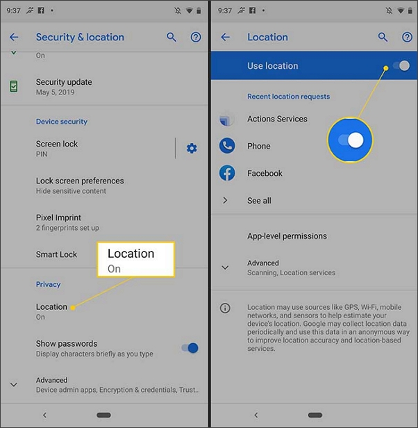disable location services on android phone