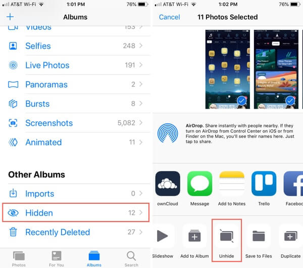 how to view the hidden photos on iphone