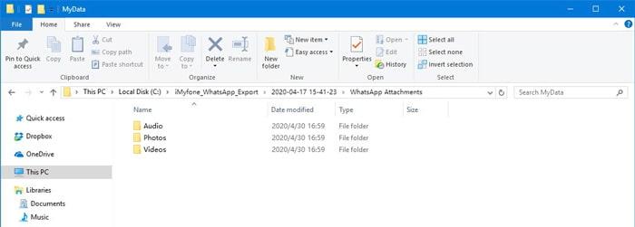 whatsapp export folders