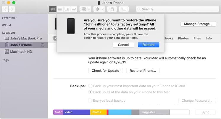 11. Restore iPhone