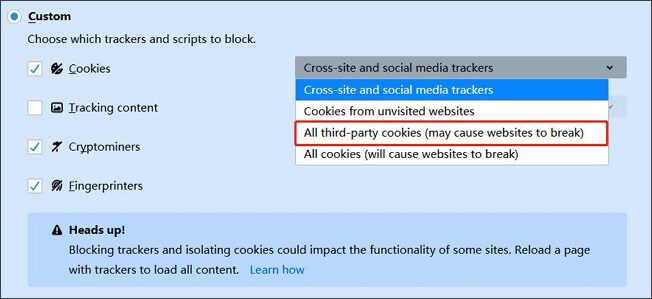 disable cross-site tracking on firefox
