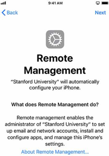 6. Remote Management screen