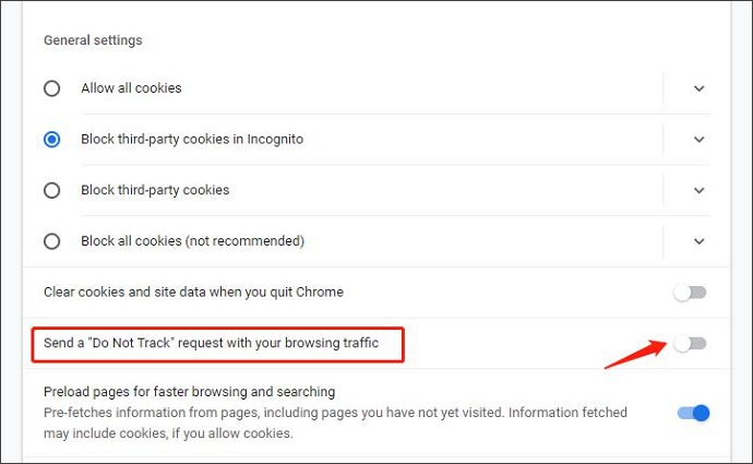 select send a do not track request with your browsing traffic
