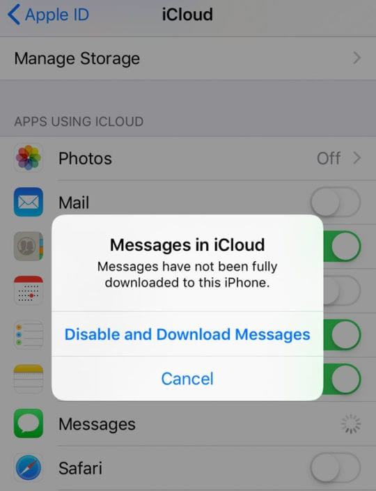 restore from Messages in iCloud