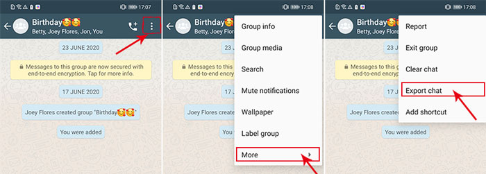 choose whatsapp chat to export on android