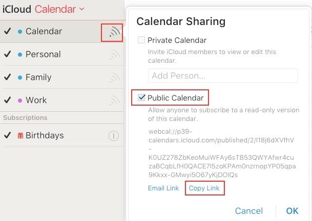 copy iCloud calendar