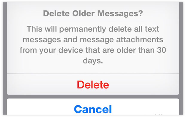 delete old messages from iphone