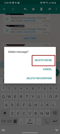 delete whatsapp messages for me