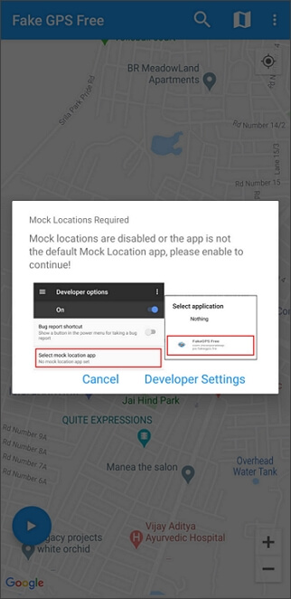 download fake gps go location spoofer and turn on developer option on your Android device