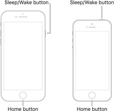 force restart iPhone 6 or older models