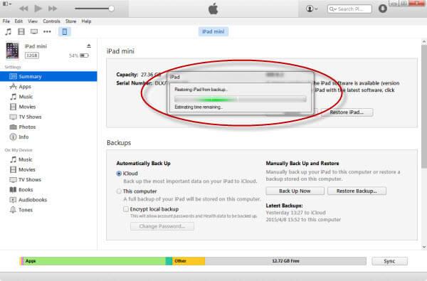restore ipad mini from backup