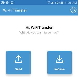 send files via Samsung Wifi Transfer