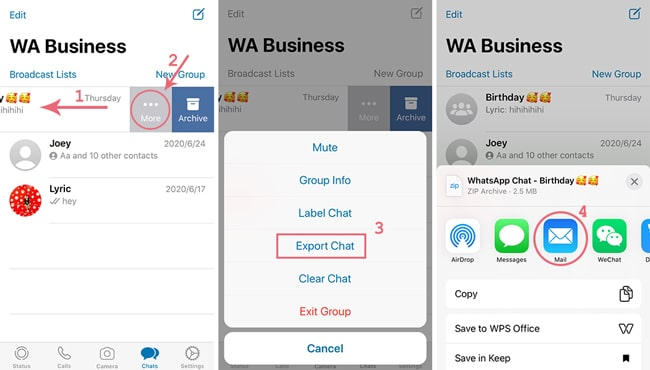 steps to export whatsapp business through email chat