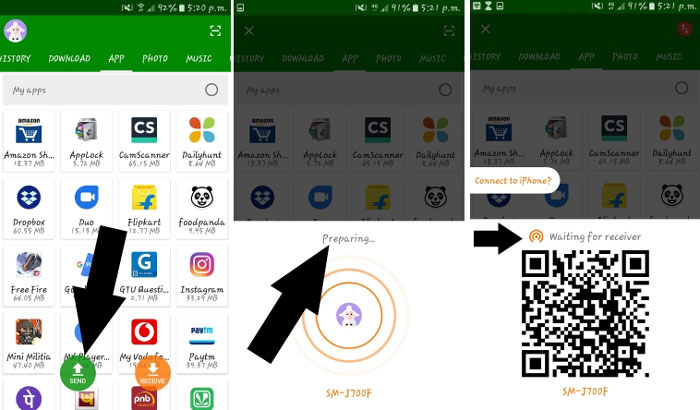 using Xender to transfer data from Android to iPhone