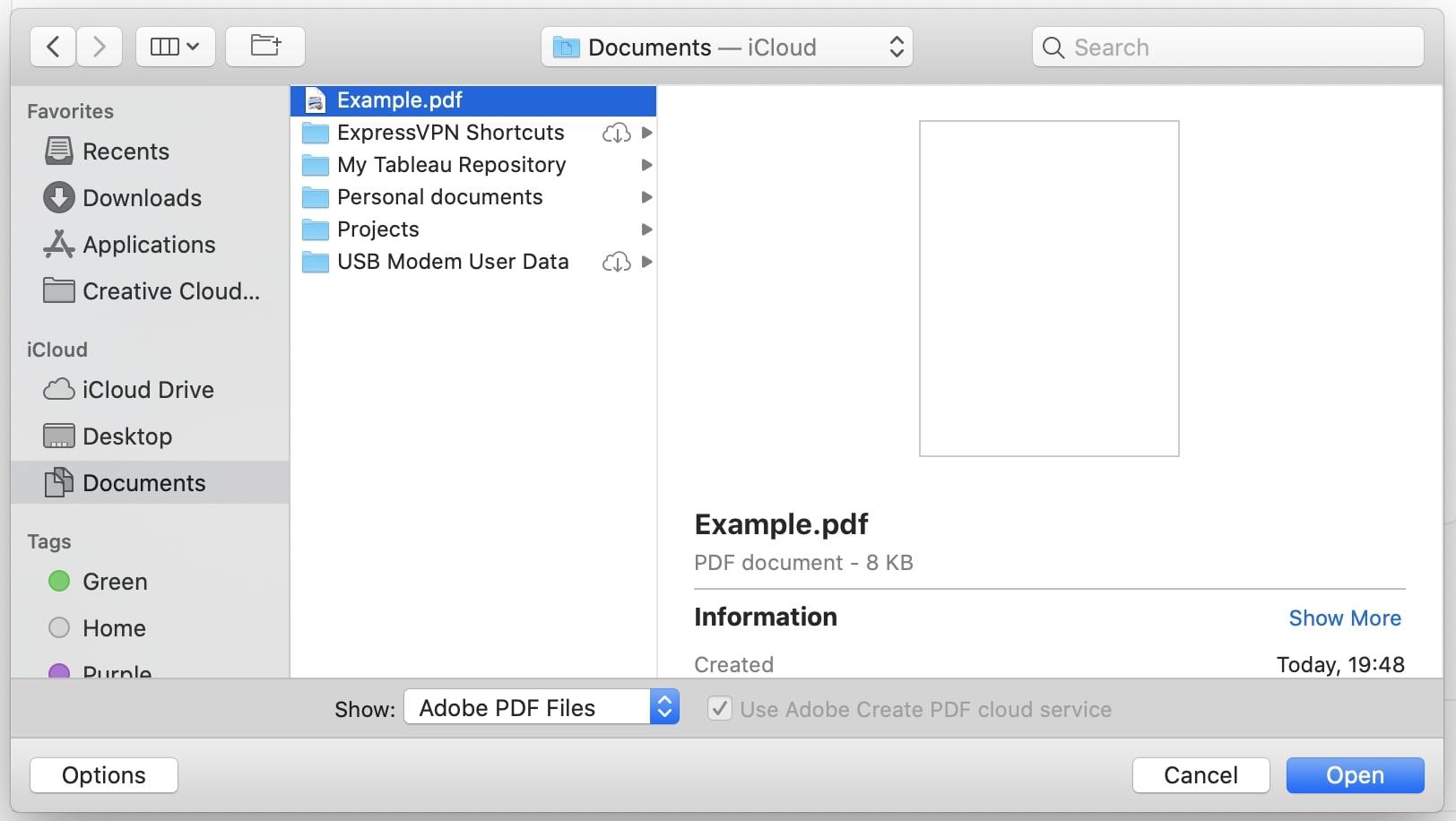 Adobe Acrobat Pro DC open pdf