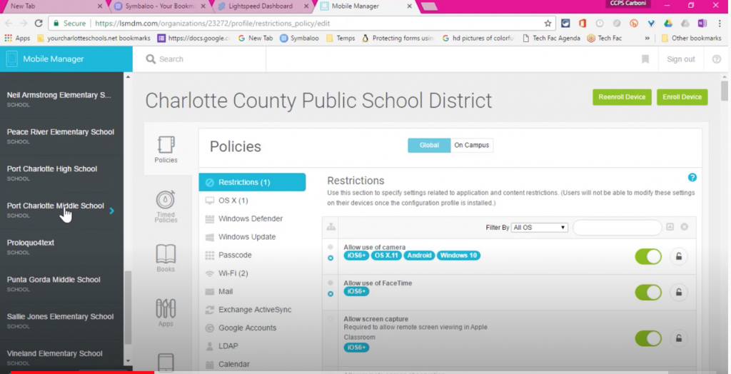 select correct school/ MDM Profile