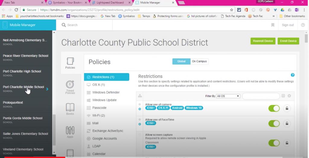 select correct school/ MDM Profile