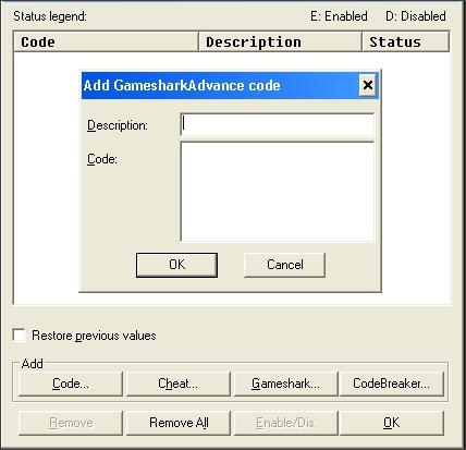 add gameshark Advance code