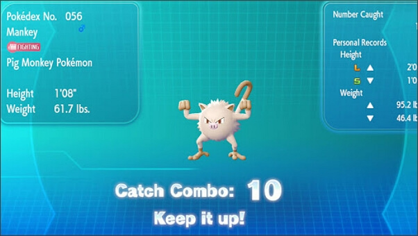 build up catch combo in let's go pikachu