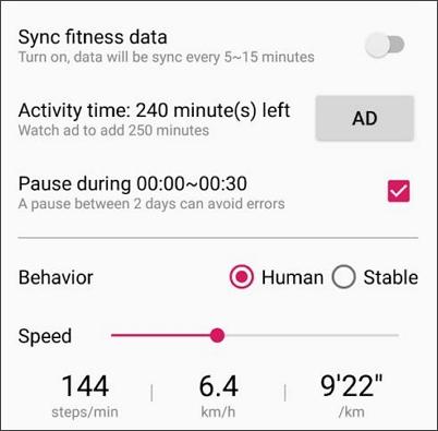 turn on sync fitness data