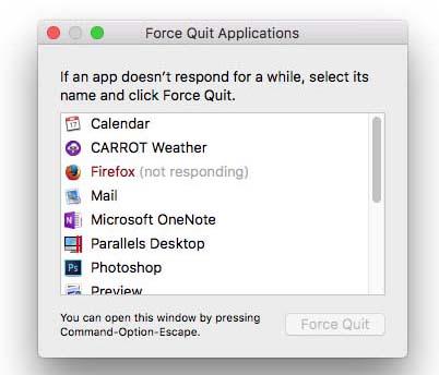 force quit not responding app