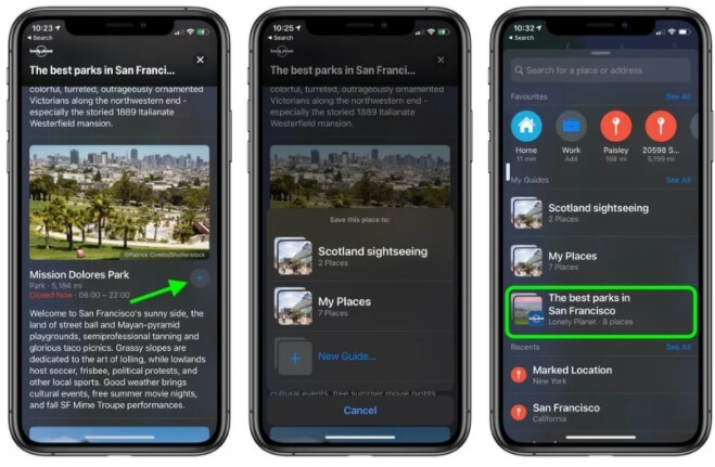 ios 14 maps guides panel