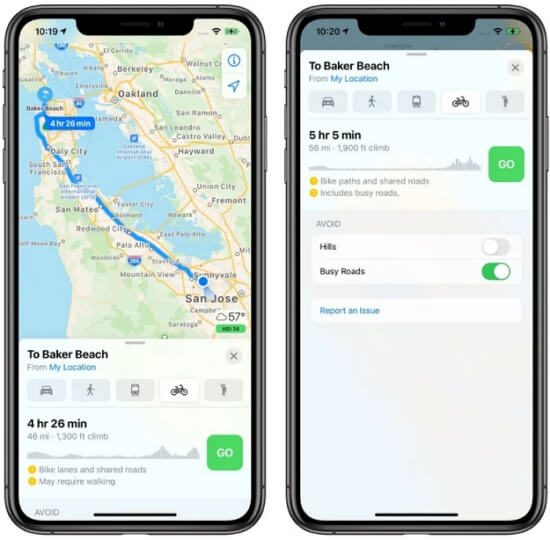 Get Cycling Directions in Apple Maps