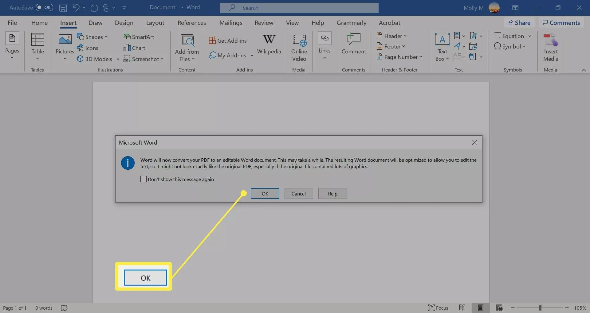 microsoft word converting pdf