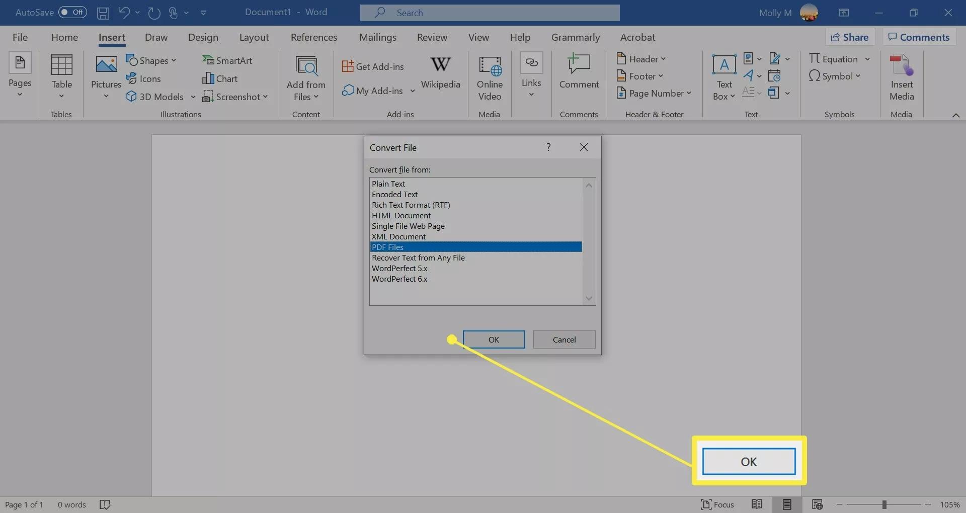 microsoft word select file