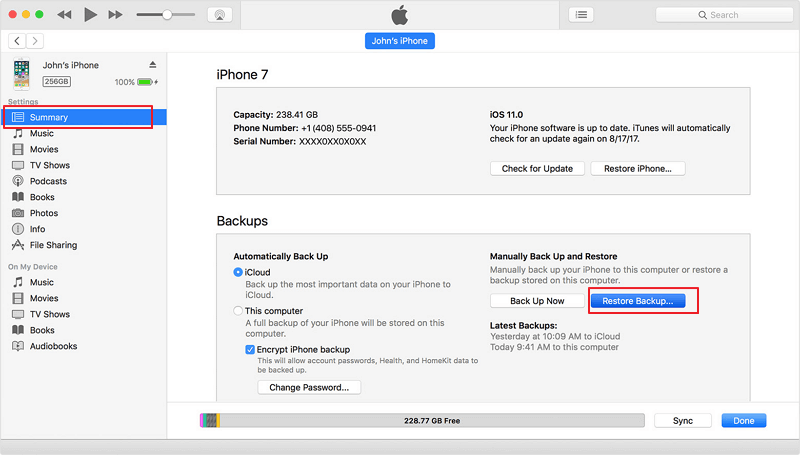 restore contacts from itunes backup