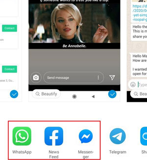 share via social apps