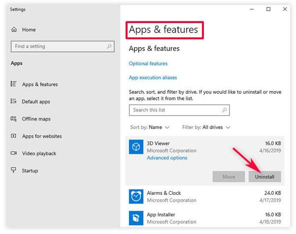 uninstall apps on windows