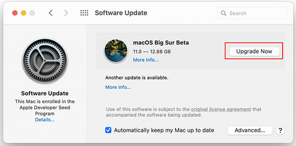 upgrate macos big sur now