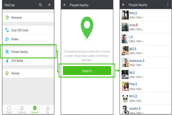 search people nearby on wechat after faking location