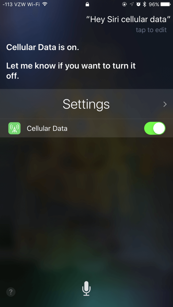 Ask Siri about Cellular data