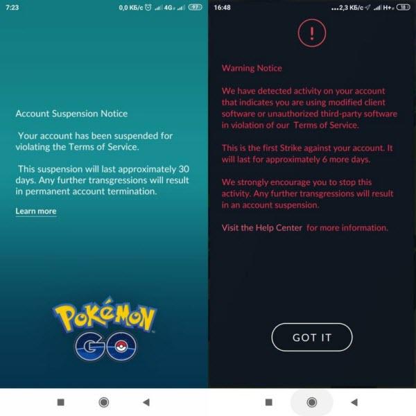 pokemon go warning