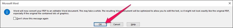 click the OK button
