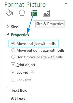 move and size with cells