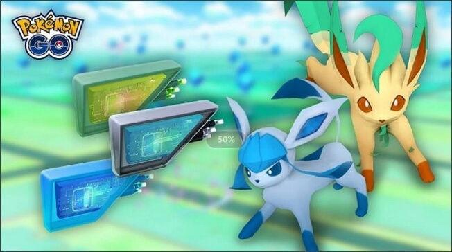 Evolve Eevee into Glaceon with A Lure Module