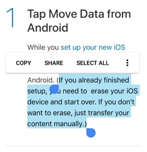 Move to iOS after setup