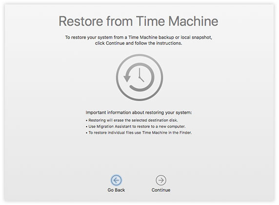restore time machine backups