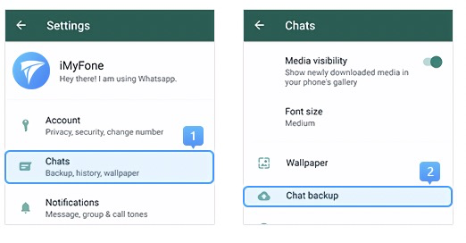 access whatsapp backup in chat settings