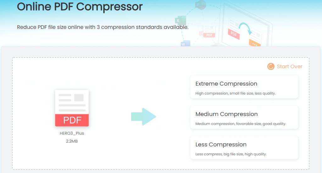 imyfone online pdf compressor choose PDF compressing level