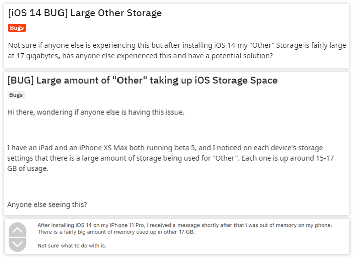 large other storage on ios 14