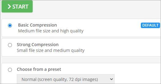 pdf2go compressing level