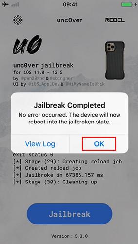 Unc0ver jailbreak completed