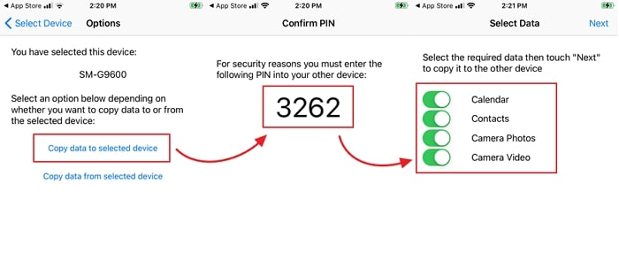 Use Copy My Data to transfer data from Android to iPhone