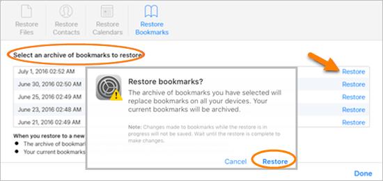 recover safari history from iCloud web